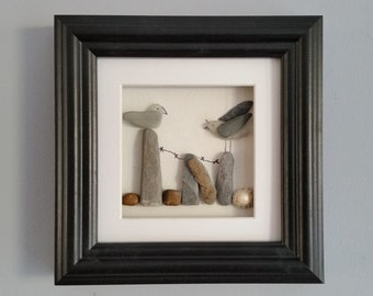 Sea Glass Art, Seagulls on posts, Birthday Gift, Cornish Pebble Art, Sea Shells, Pebble Picture, Wall Art, Cornwall