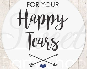 Happy Tears Stickers, Wedding Favor Stickers, Tissue Sticker, Wedding Labels, Tears Of Joy Stickers, Wedding Tears Labels - Set of 24