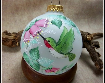 Humming Bird Ornament, Hand-Painted Humming Bird, Pink Floral, Free Inscription, Pink and Green, Glass Ornament