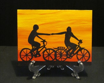 Bicycle riding lovers - hand painted Art Card