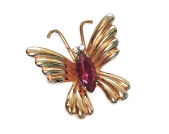 Dark Pink Rhinestone Butterfly Pin Signed Coro Vintage Pin Insect Jewelry