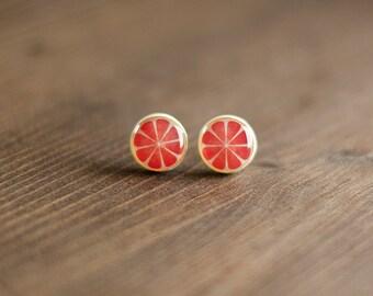 Grapefruit Stud Earrings, citrus fruit, summer ear studs, acidulate