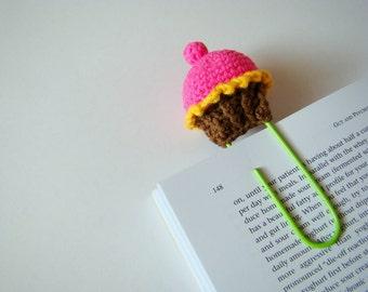 Crochet cupcake crochet bookmark planner clips office gift ideas teacher gift idea paper clip pink cupcake daily planner accessories yellow