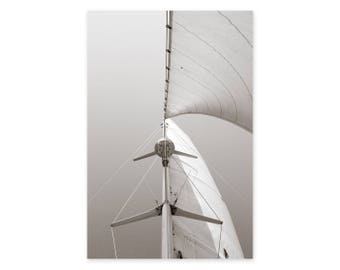 Sailing Photography Art Print - Beach House Wall Decor - Nautical Photography - Sepia Wall Art - Framed Sailboat Art Print - Gift for Sailor