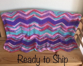 Child Afghan Pink Purple Aqua Lapghan Ready to Ship Blanket