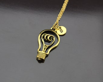 Gold Light Bulb Charm Necklace LightBulb Charm Light Bulb Pendant Personalized Necklace Initial Charm Initial Necklace Customized Jewelry
