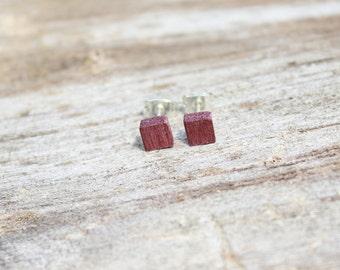 Tiny Purple Heart Wood Cube Earrings
