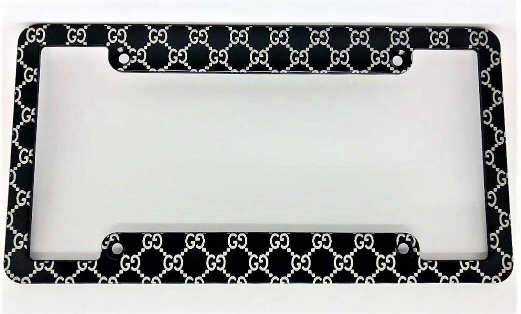 Gucci-Logo Barren Nummernschild Aluminiumrahmen schwarz