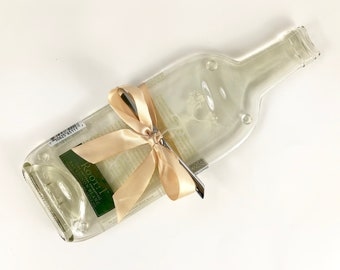 Melted Wine Bottle Cheese Trivet, Root 1 Sauvignon Blanc, Upcycled Glass by Mitchell Glassworks White Wine Serving Tray