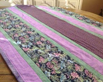 Quilt Handmade Small Striped Purple Lavender Quilt
