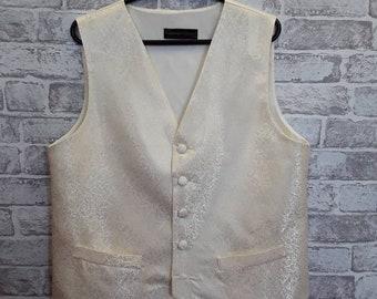 """Men's Brocade Vest, Men's Brocade Waistcoat, Ivory Brocade Vest, Wedding Vest, Wedding Waistcoat, 40""""-42"""" Chest"""
