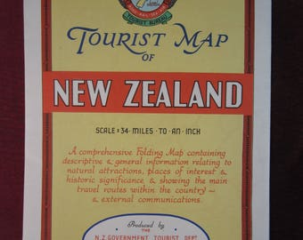 RARE 1946 A Tourists Map of New Zealand Issued by The New Sealand Goverment Department of Tourist & Health Resorts - Very Good