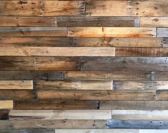 Reclaimed Pallet Boards 25 sq ft *Sealed* - Dismantled Pallet Wood - Reclaimed Wood - Accent Wall - Shiplap