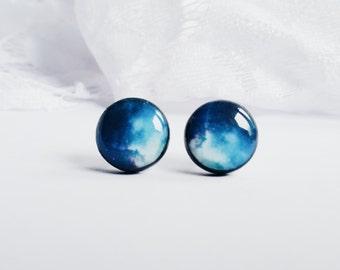 Blue Galaxy Stud Earrings, Navy Blue Earrings, Space Stud Earrings, Nebula Stud Earrings, Galaxy Stud, Universe Stud Earrings, Gift For Her