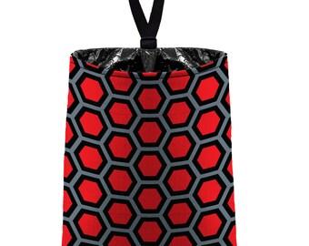 Car Trash Bag // Auto Trash Bag // Car Accessories // Car Litter Bag // Car Garbage Bag - Honeycomb Red Dark Grey Black// Car Organizer