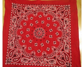 Vintage Red Cotton Bandana   Free shipping  #92