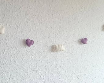 Lilac - white felt cloud and heart garland - short bunting - purple tones - nursery idea decor Baby shower - Banner - wedding decor