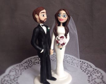Funny wedding cake topper Wedding Cake Topper Family Personalised figurines bride and groom Bouquet of peonies Lace dress Groom with a beard