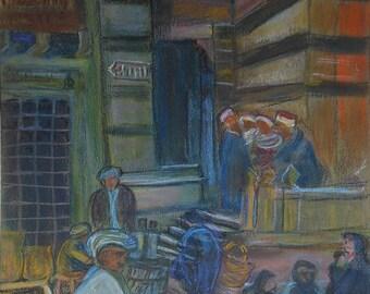 vintage chalk drawing of village scene
