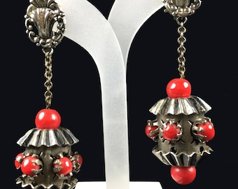 Vintage Earrings-Glass beads-Art Deco-statement-runway-1940s-red-gift