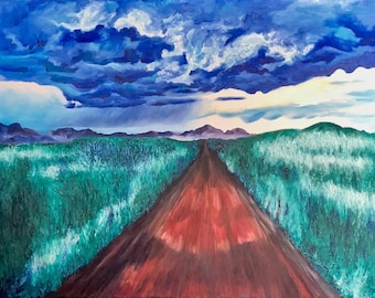 Headlights Under Rainclouds, Original Oil Painting on Canvas