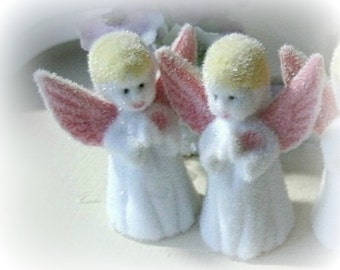 "2 mini flocked angels tiny decoration supply 1 1/2"" high miniatures"