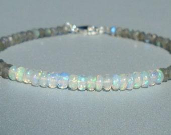Opal Bracelet, Ethiopian Opal Bracelet, Labradorite Bracelet, October Birthstone, Gemstone , Fiery Opal, Dainty Beaded Bracelet