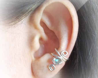 Silver Ear Cuff Swarovski Crystal Chrysolite Silver plated Ear Wrap