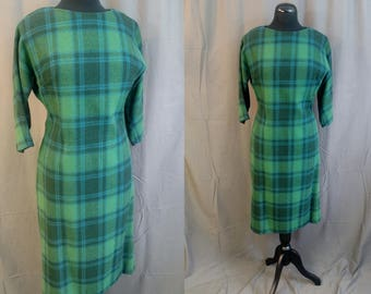 1960s Vintage BEST & CO Wool Plaid Dress Marion in Green and Blue / 60s Best and Co / Size Medium