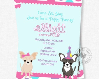 Dog Birthday Invitation, Puppy Pawty Invitation, Chihuahua Dog Invite, Girl Birthday Invitation, Come Sit Say Invitation