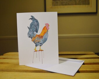 Rooster set of 5 Notecards