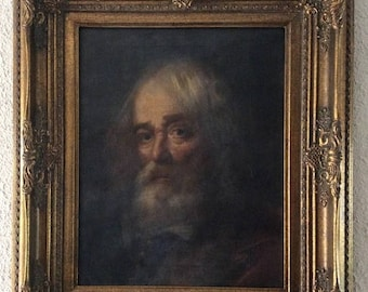 Sale Antique Italian Oil Painting Portrait of a Bearded Gentleman O/C Old Master Style European Art Framed