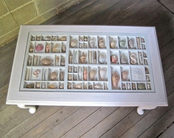 Queen Anne coffee table, traditional style collection table for displaying seashells, jewelry, and other keepsakes.