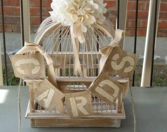 "CARDS Custom Burlap Jute Banner- 3 x 4"" - Block - Hang off birdcage, money box, card box. Shabby chic cream vintage inspired wedding decor."