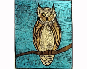 Great Horned Owl woodblock print hand-pulled original