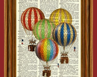 Vintage Hot Air Balloons Upcycled Dictionary Art Print Poster
