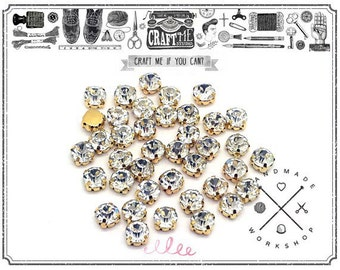 50pcs 8mm Sew on Rhinestones comes in a GOLD colored prong setting