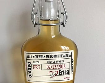 Liquor Flask Labels - Father of the Bride - Walk Me Down the Aisle Label -  Liquor Bottle Labels and Glass Flask
