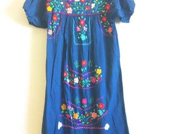 Embroidered Mexican dress Caftan boho hippie small traditional floral royal blue Frida Kahlo Oaxacan