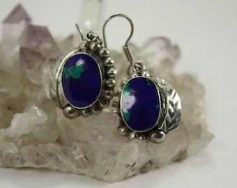 Boho Earrings, Silver Earrings, Azurite Sterling Navajo Earrings Turquoise Malachite Lapis Lazuli 925 Gypsy earrings, Silver dangle earrings
