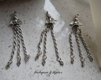 PENDENTIFS ANGES CHAINETTES  lot de 2 unités  adorable 7 cm Pour création sur collier ou boucles d'oreilles pour embellissement