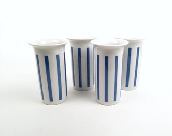 La Gardo Tackett Tumblers: Set of Four in Blue and White Striped Pattern