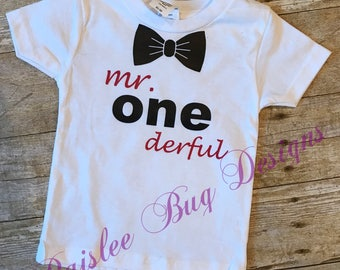 Mr Onederful Shirt, 1st Birthday Shirt, First Birthday Shirt, Boys 1st Birthday, Mr One derful, Boys First Birthday Outfit