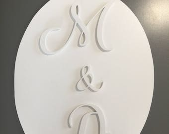 Lovely oval decorative Panel with embossed initial