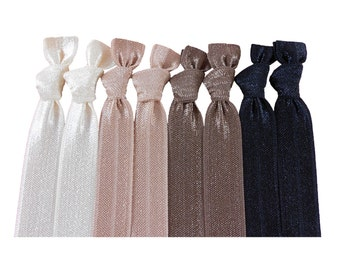 Elastic Hair Tie Package in Neutral Colours: 8 Gentle Elastic Hair Ties Solid Neutral Colors Black and Brown Shades - Double as Bracelets