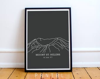 Mount St. Helens Washington PNW Modern Hiking Design Printable Photo Frame Pacific Northwest Oregon Wall Art Artwork Cascade Mountain Range