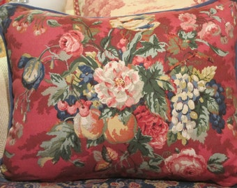 French Country Pillow Cover, Red Floral Designer Throw Pillow Cover, High End Red and Blue Floral and Fruit Country French, Cottage Decor