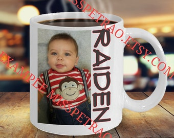 Custom Coffee Mug with Your Photo and Text, Image, Artwork,etc Design on both sides for left or right handed user