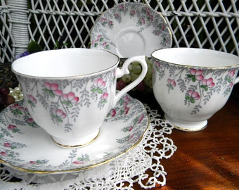 2 Royal Albert Teacups Tea Cups and Saucer - One is Damaged 11041