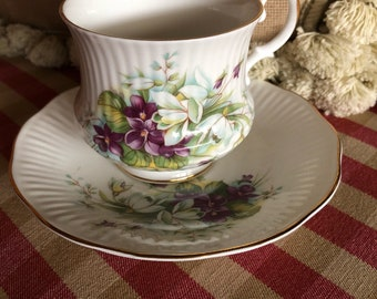 English Country Royal Dover Violet Bouquet Teacup and Saucer